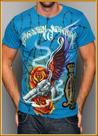 Hollywood stars Tattoo and Christian Audigier collab shirts