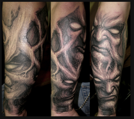 Tattoos Faces on Paul Booth Tattoo Evil Faces Tattoo Free Hand Tattoos