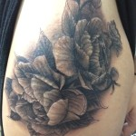 peonies, tattoo,