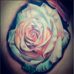 colored, rose, tattoo,