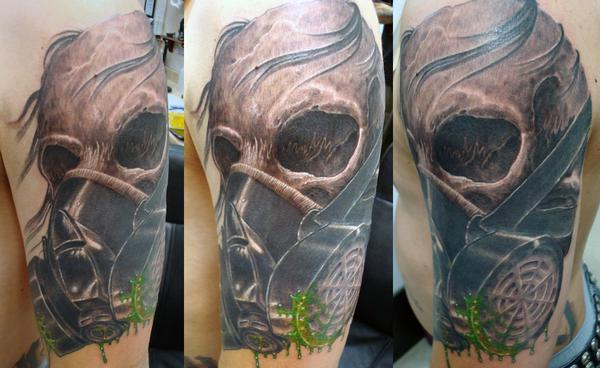 skull and gas mask tattoos