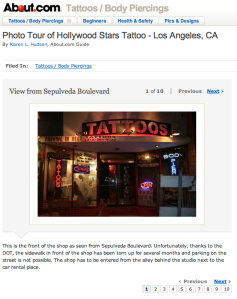 article about Hollywood Stars Tattoo on about.com